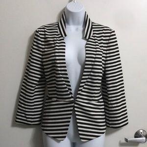 Express White & Black Striped Blazer Sz L